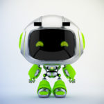 Cute silver green robotic toy – mini unit 9 robot 3d render