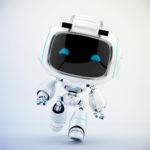 White mini unit 9 in action - walking robot 3d render