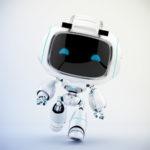 White mini unit 9 in action - walking robot 3d render