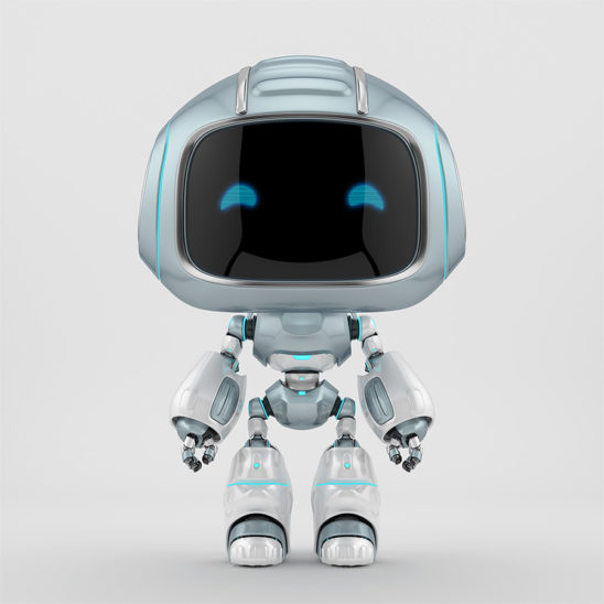 Cute grey robotic teen – mini unit 9 robot 3d render