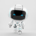 White mini unit 9 walking forward 3d render