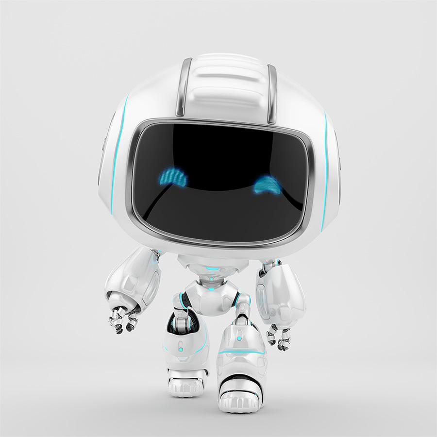 White mini unit 9 walking forward 3d render