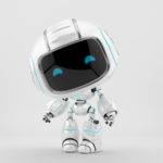 Cute white robotic teen – mini unit 9 robot 3d render