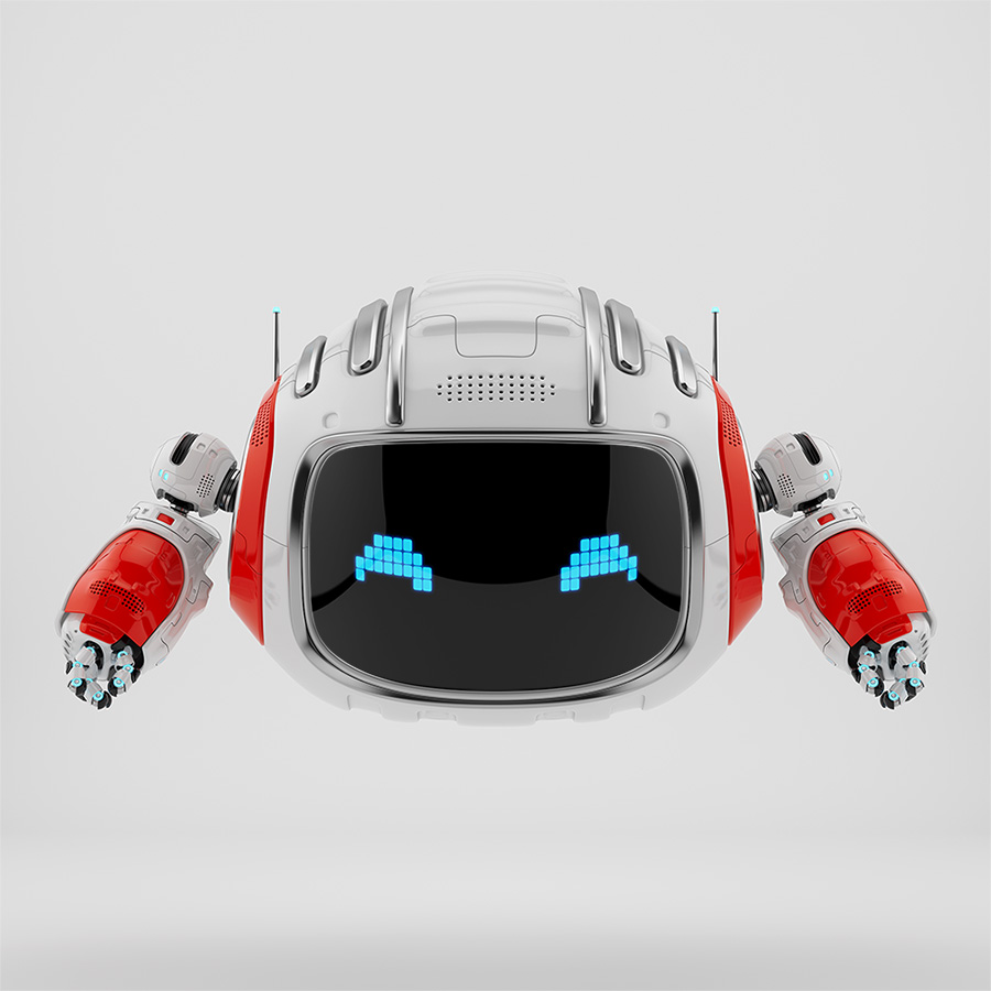 Modern Cutan robotic toy in white with red accents and pixel digital eyes