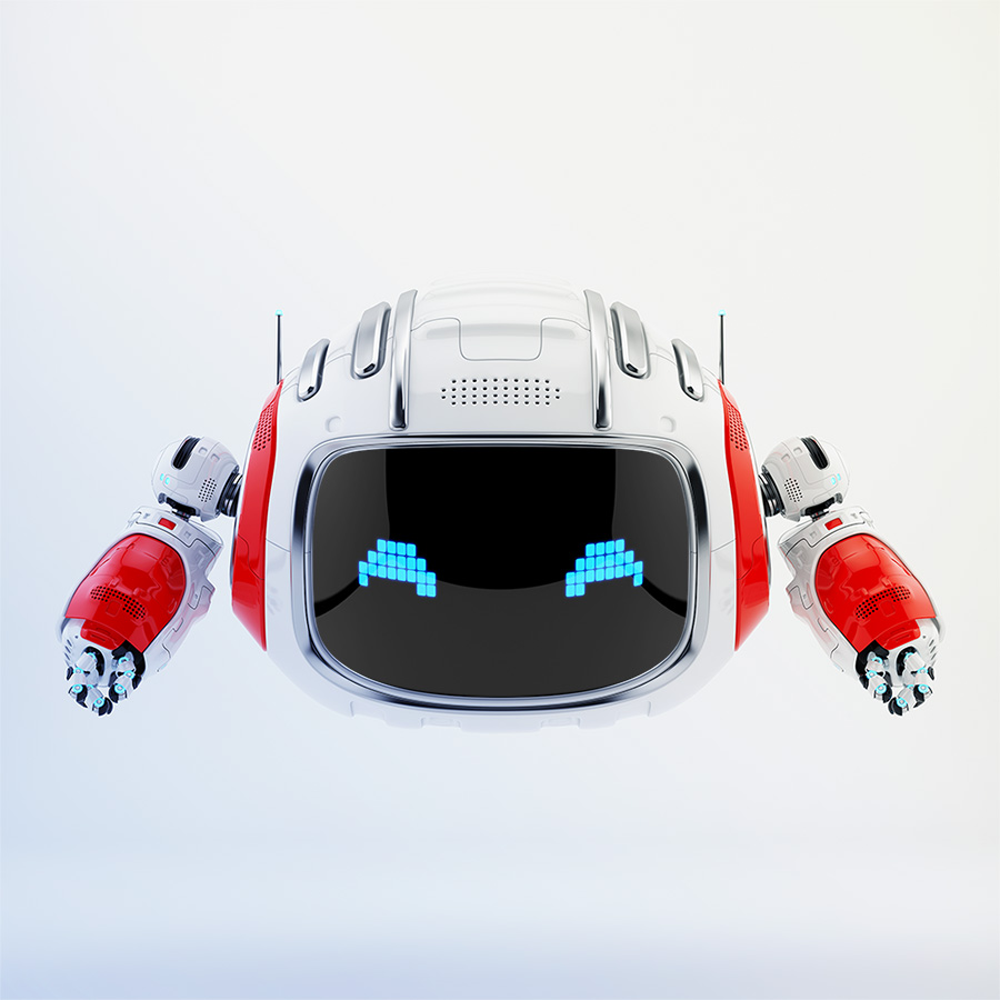 Modern Cutan robotic toy in white with red accents and pixel digital eyes 3d render