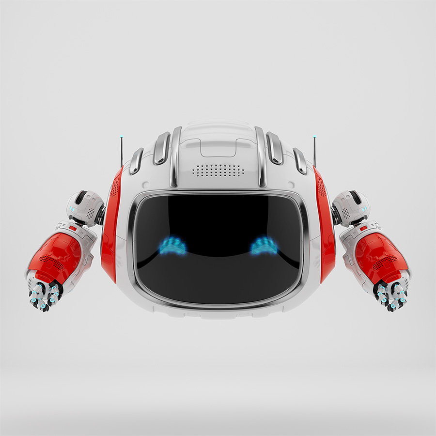 Modern Cutan robotic toy in white with red accents 3d render