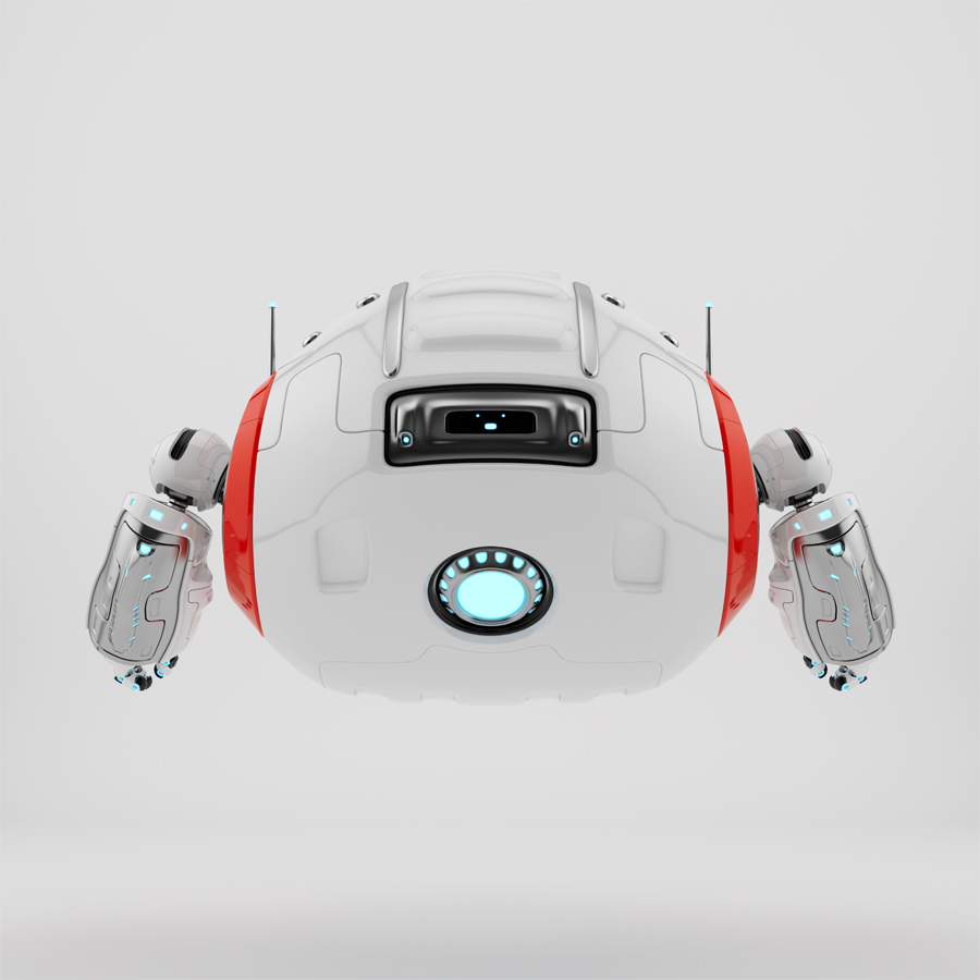 Modern Cutan robotic toy backwards in white with red accents