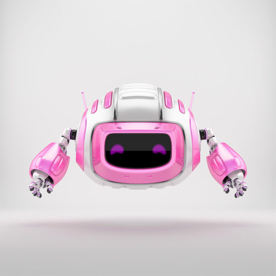 Pink girlish robot cutan aerial toy 3d render