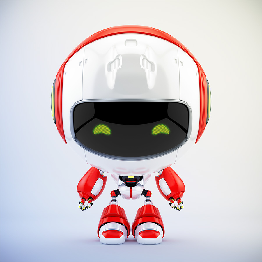 Pr robot cute toy in front 3d render