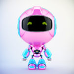 Pink-blue Pr cute robot toy in front 3d render