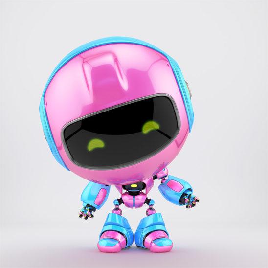 Lovely pink-blue pr robot gesturing 3d render