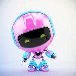 Lovely pink-blue pr robot gesturing 3d render in front