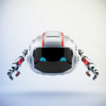 Modern aerial Cutan robotic toy in silver color with red accents
