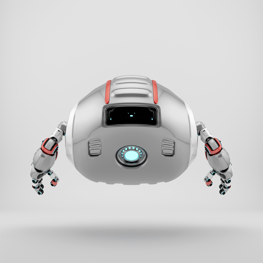 Aerial Cutan robotic toy backwards in silver color with red accents