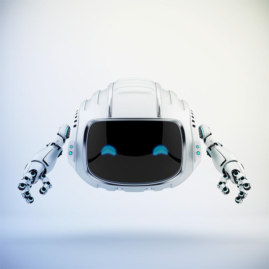 Modern aerial Cutan robotic toy in silver color