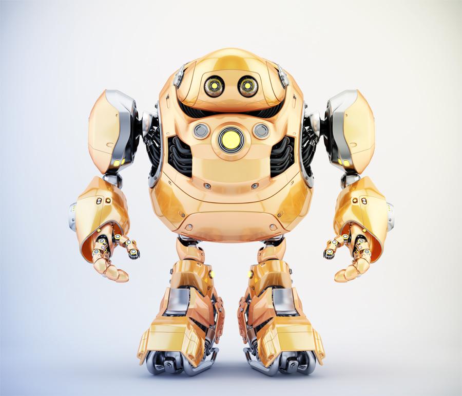 Golden robotic turtle in front 3d render
