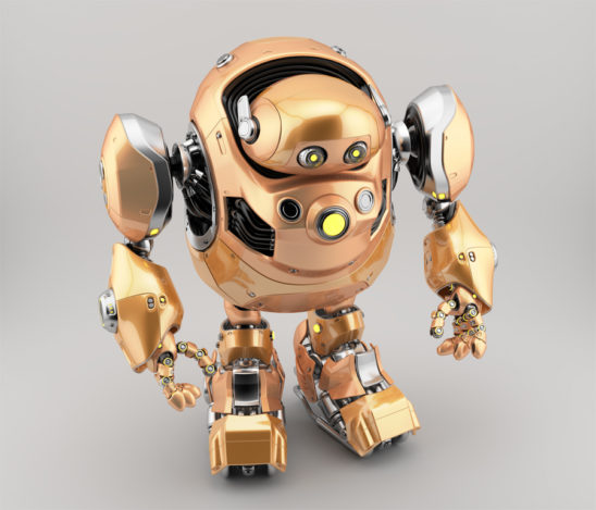 Golden robotic turtle in upper view 3d render