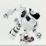 Pearl white huge running cyber turtle 3d render