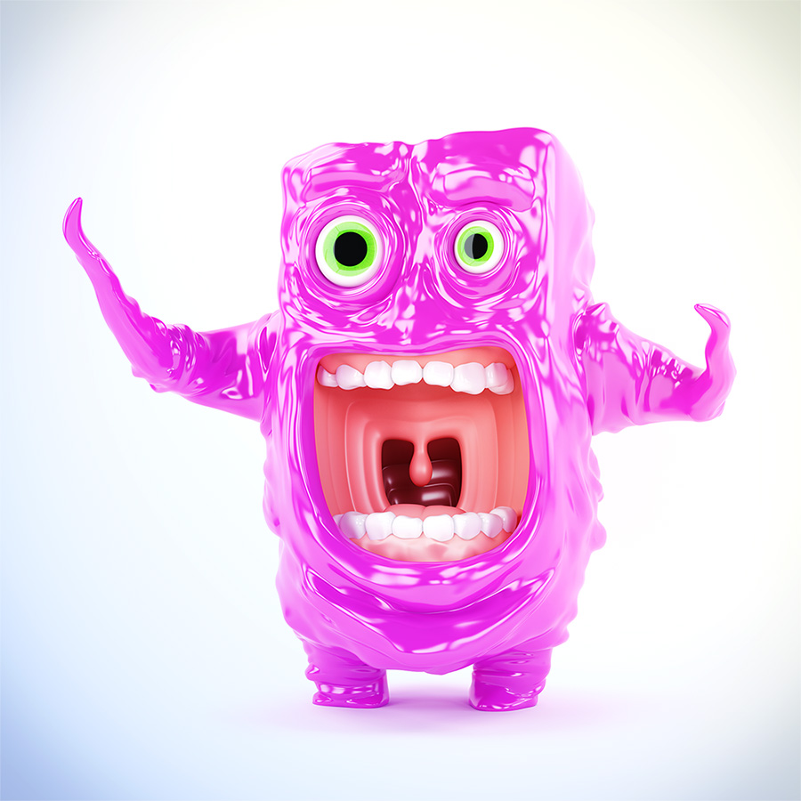 Funny unique violet crying gesturing jelly creature, 3d render
