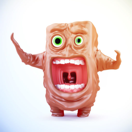 Funny unique cream crying gesturing jelly creature in panic, 3d render