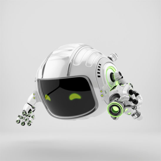 Modern aerial Cutan robotic toy with blaster gun in side 3d render