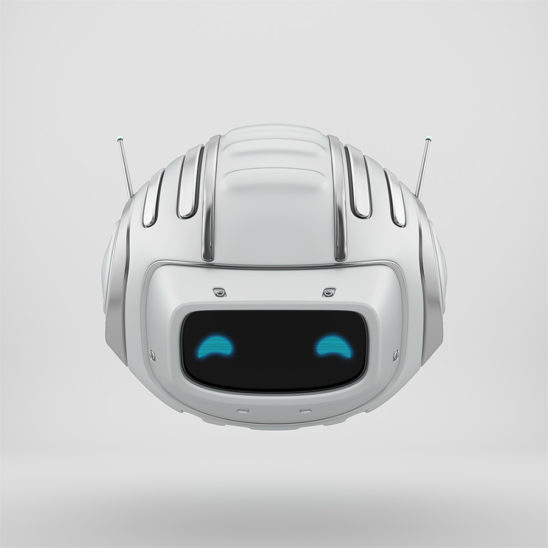 Compact aerial cutan - white robotic toy with antennaes