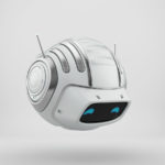 Compact aerial cutan - white robotic toy with antennaes 3d render