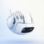 Compact aerial cutan - white robotic toy with antennaes side 3d render