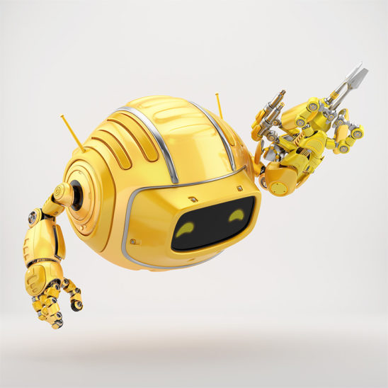 Orange aerial Cutan robotic toy with multi-tool instrument arm 3d render