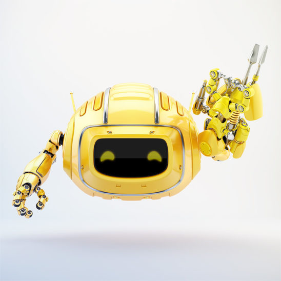 Orange aerial Cutan robotic toy with multi-tool instrument arm in front 3d render