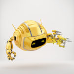 Orange aerial Cutan robotic toy with multifunctional arm instrument 3d render