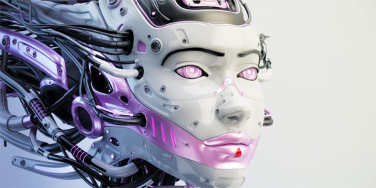 Fashionable cyborg geisha with pink color accents and wired dreadlocks 3d render