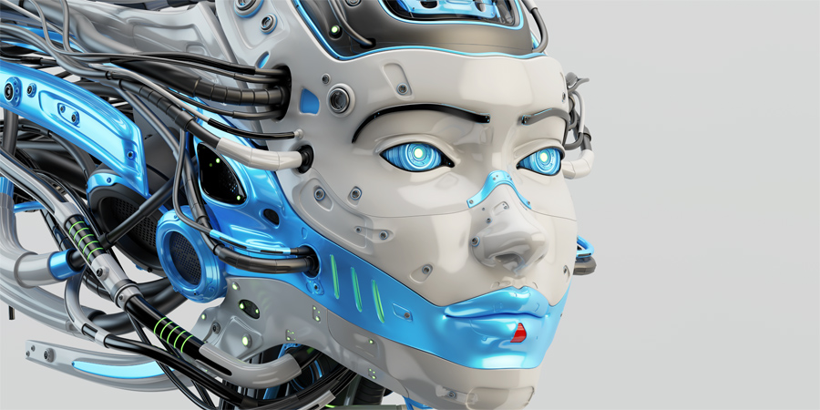 Fashionable robot geisha with sky-blue accents and wired dreadlocks 3d render
