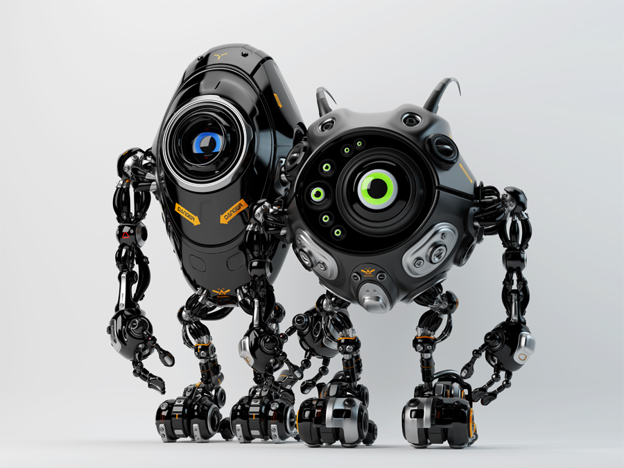 Two ufo robotic black beetle creatures - dangerous futuristic friends 3d render