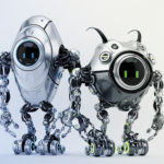 Two ufo robotic steel beetle creatures - dangerous futuristic characters, 3d render