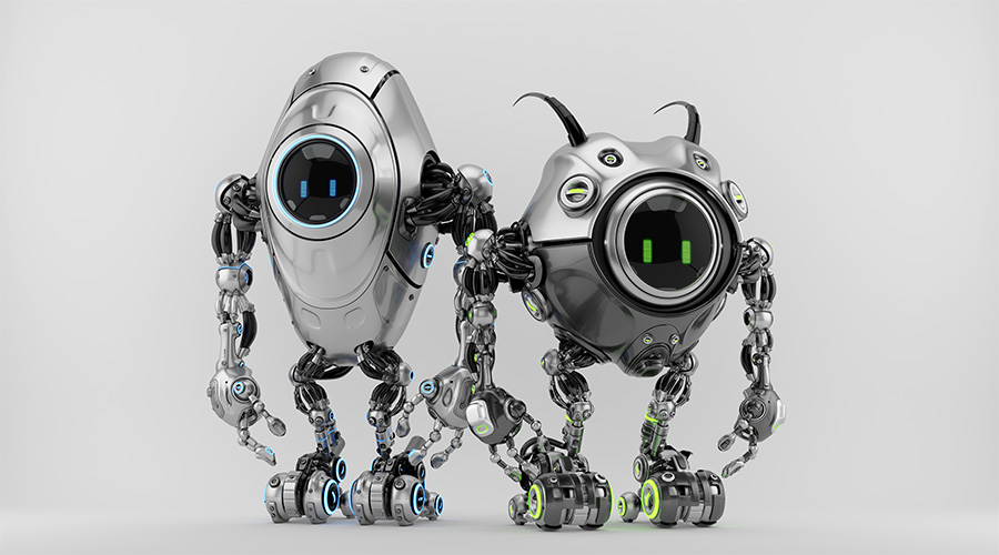 Two ufo robotic steel beetle creatures - dangerous futuristic characters 3d render