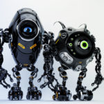 Two ufo robotic black beetle creatures – dangerous futuristic friends 3d render