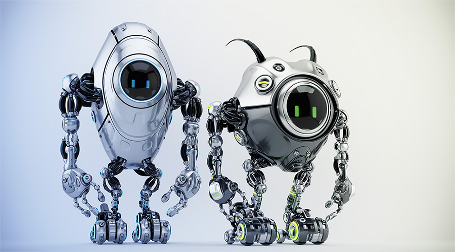 Two ufo robotic steel beetle creatures – dangerous futuristic characters, 3d render