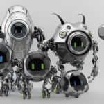 Ufo robotic steel beetle family – cute futuristic characters, 3d render