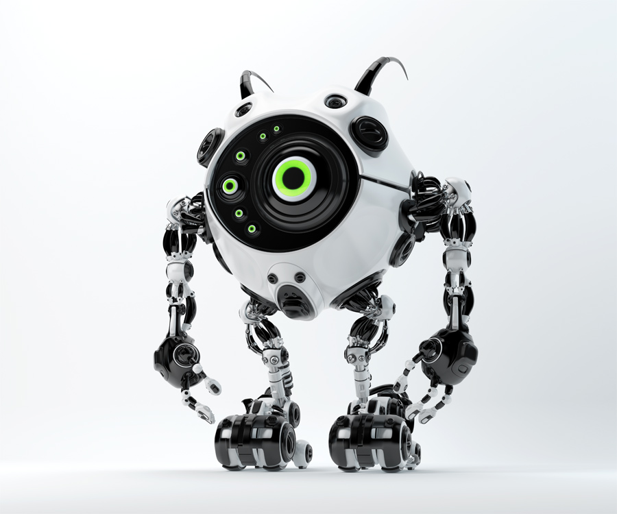 Black-white beetle-like robotic creature with one big eyes and several mini eyes and cute antennaes