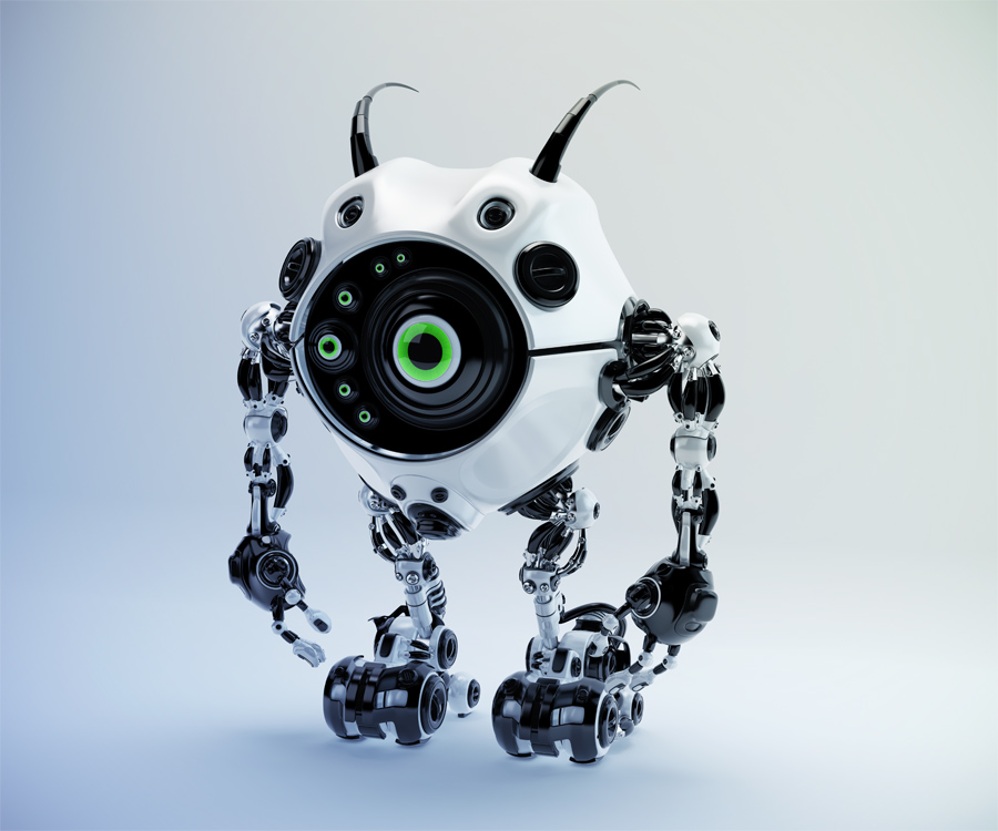 Black-white beetle-like robotic creature with one big green eye, several mini eyes and cute antennaes, 3d rendering