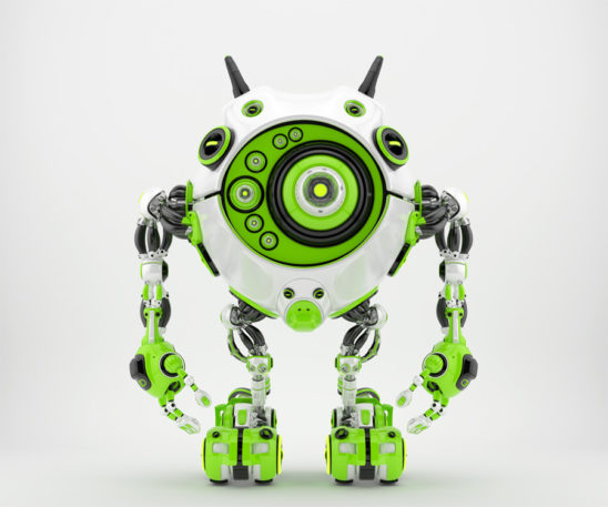 Bright green & white robotic beetle with many eyes and funny antennaes