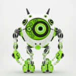 Bright green & white robotic beetle with many eyes and funny antennaes, 3d rendering