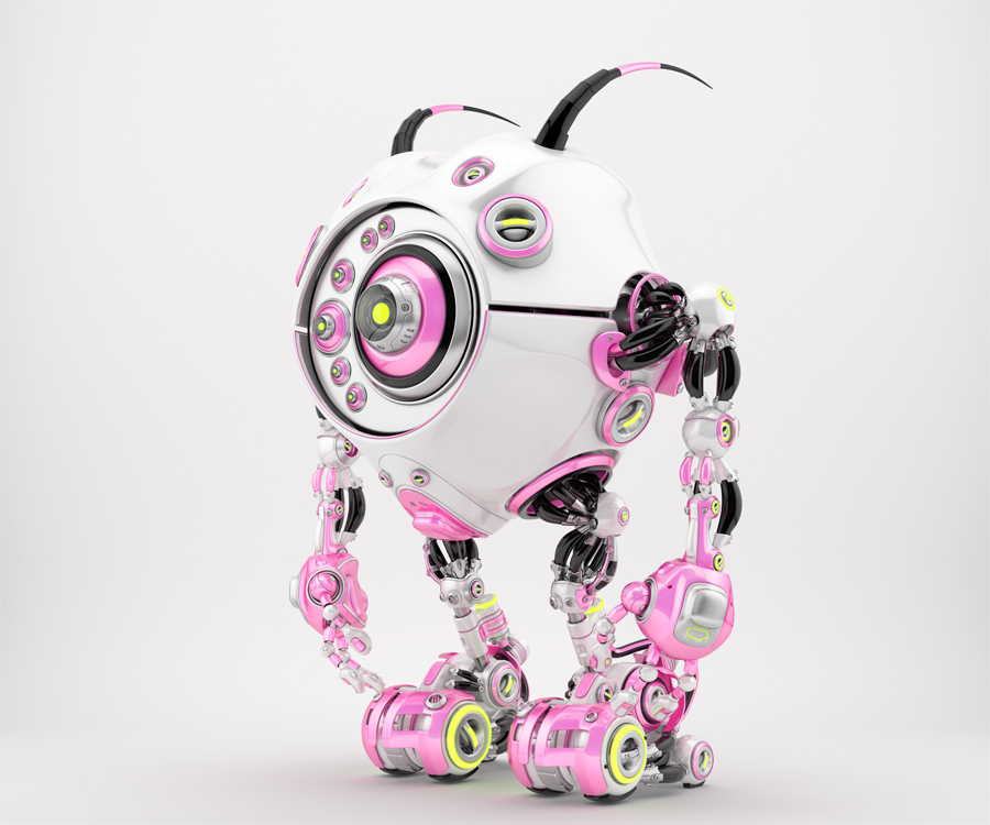 Bright pink & white robotic beetle with many eyes and funny antennaes, side angle 3d rendering