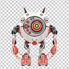Bright red & white robotic beetle with many eyes and funny antennaes, front angle 3d rendering