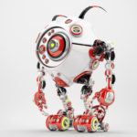 Ufo white-red robotic beetle with many eyes and funny antennaes, side angle 3d rendering