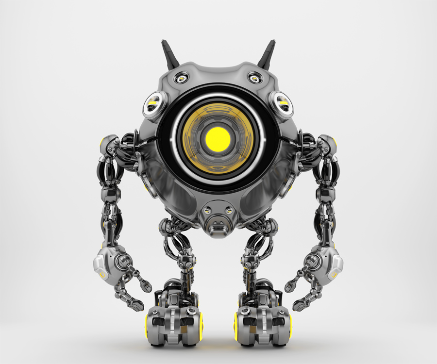 Black robotic beetle with big yellow eye and funny antennaes, front angle 3d rendering