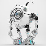 Bright white robotic beetle with many blue eyes and funny antennaes, side angle 3d rendering