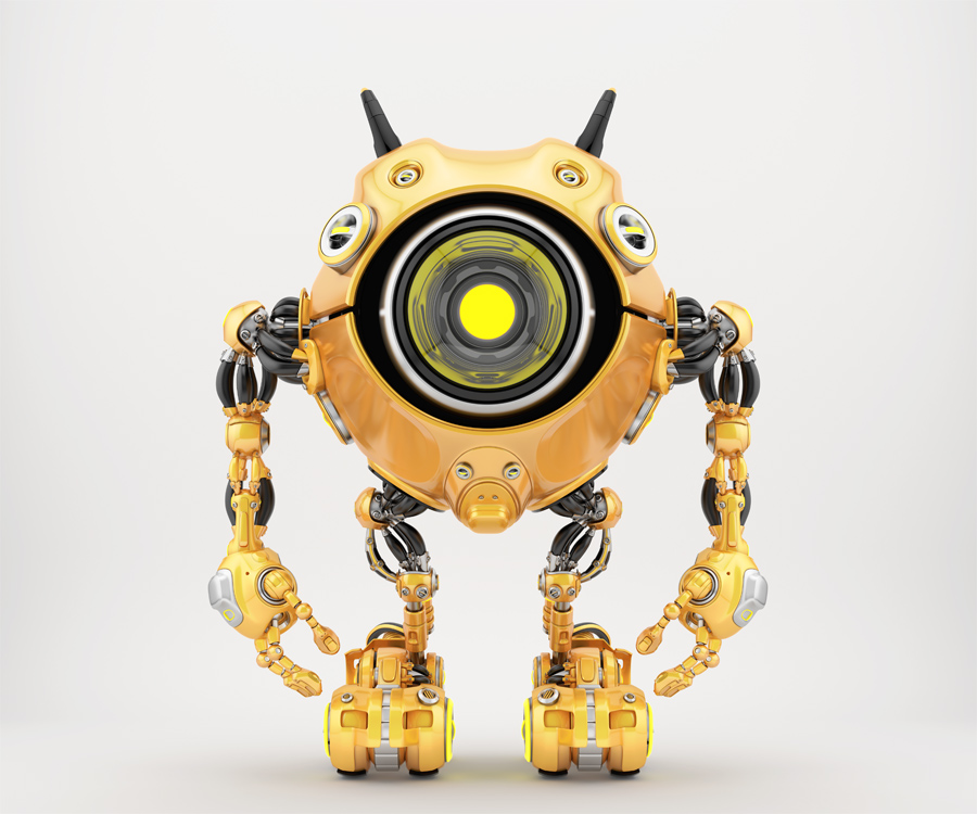 Orange robotic beetle with big yellow eye and funny antennaes, front angle 3d rendering