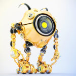 Orange robotic beetle with big yellow eye and funny antennaes, side angle 3d rendering